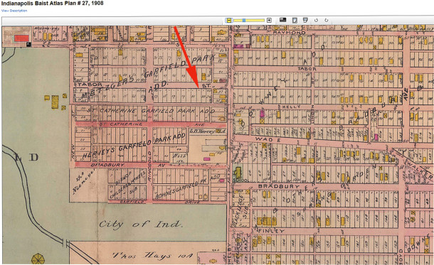 1908 Baist Atlas map shows no structure at 1037-39 E. Tabor (courtesy of IUPUI Digital Archives