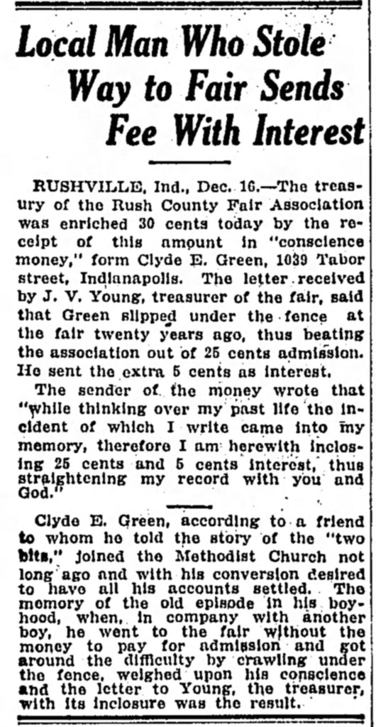 1915 article report that Clyde Green paid Rush County Fair for gaining entrance for free as a child (courtesy of newspapers.com)