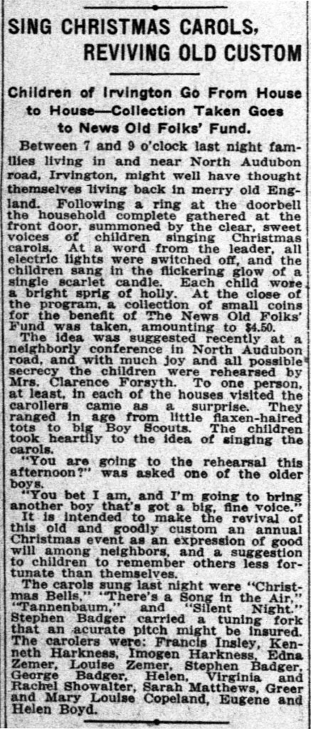 In 1915, children in Irvington caroled their neighbors (courtesy of newspapers.com)