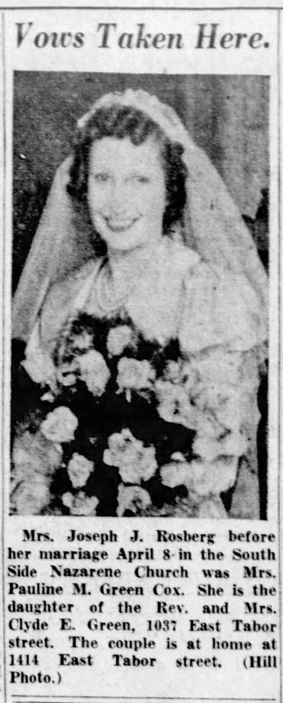 1939 Indianapolis Star article announced the marriage of Clyde Green's daughter (courtesy of newspapers.com)