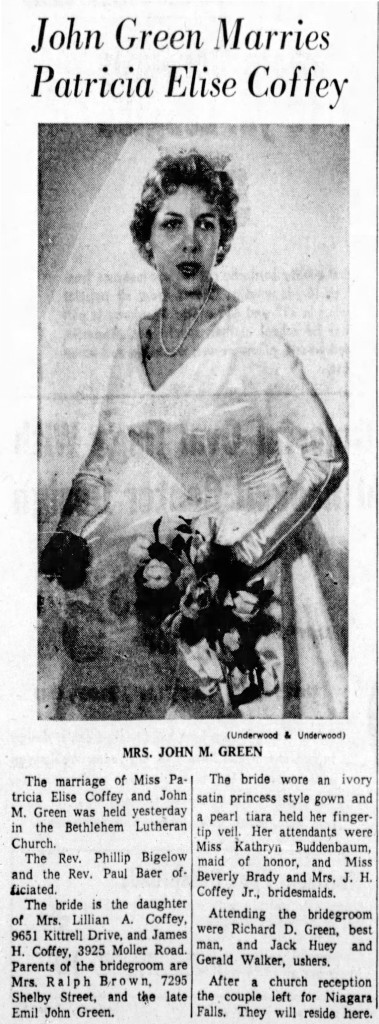 1960 Indianapolis Star announcing the marriage of John Milton Green (courtesy of newespapers.com)