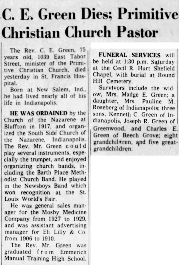 1961 Indianapolis Star obituary for Clyde E. Green (courtesy of newspapers.com)