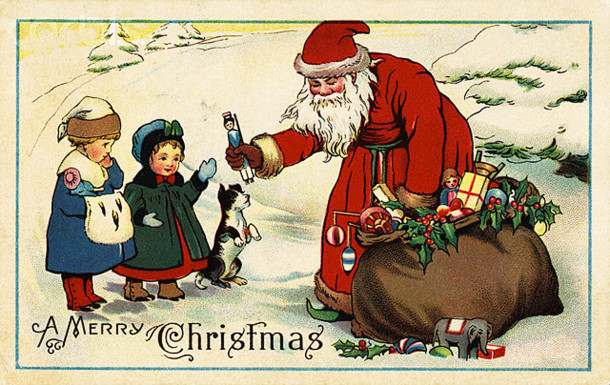 1915 postcard with Santa giving gifts --- Image by © Fine Art Photographic Library/CORBIS
