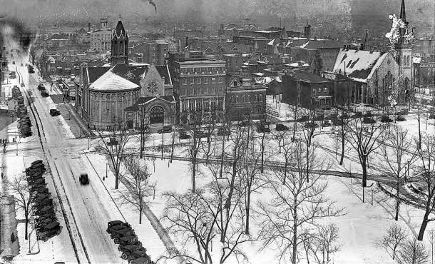 1915 view of N. Meridian and E. Vermont Streets from the Telephone Company Building at Meridian and New York Streets (W. H. Bass Photo Company Collection courtesy of the Indiana Historical Society)