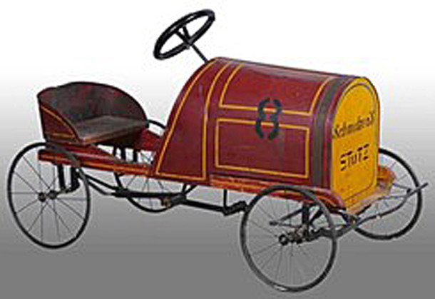 1915 Schmelzer Stutz Racer No. 8 pedal car (image courtesy of prices4antiques.com)