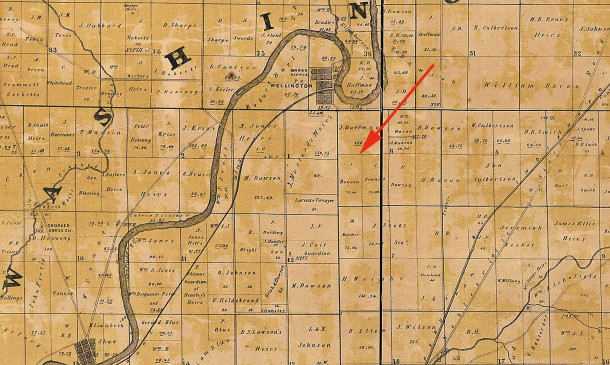 1855 Condit, Wright, & Hayden map shows J. Dawson as the the owner of 75 acres (courtsy of the Library of Congress)