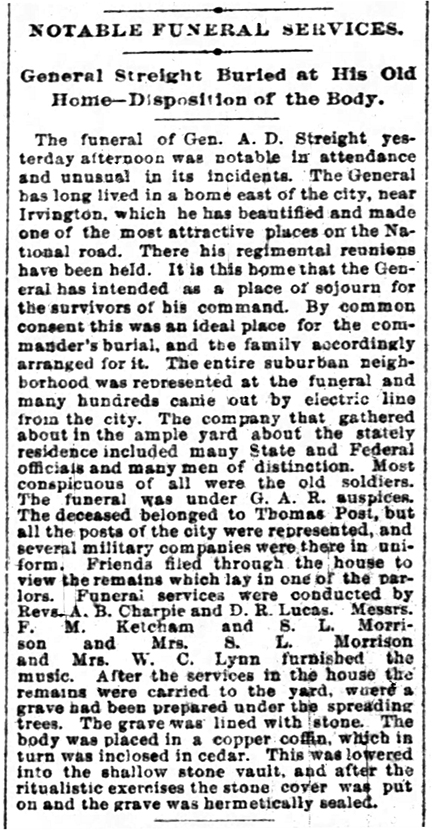 1892 funeral notice of A. D. Streight (courtesy of newspapers.com)