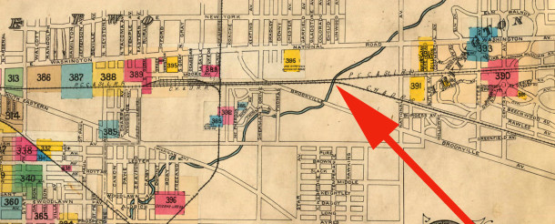 1898 Sanborn map showed the railroad tracks but did not indicate any streets in the area (map courtesy of IUPUI Digitall Archives)