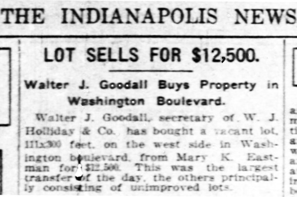 Walter and Lulu Goodall purchased a building lot in the 4100 block of Washington Boulevard (courtesy of newspapers.com)