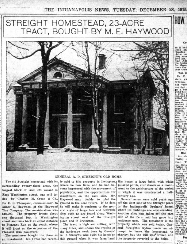 1915 Indianapolis News article discussed the sale of Abel D. Streight's farm to a developer (courtesy of newspapers.com)