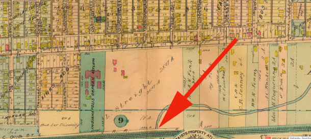 1916 Sanborn map showed the Streight farm but still no streets in the area around the creek (map courtesy of IUPUI Digital Archives)