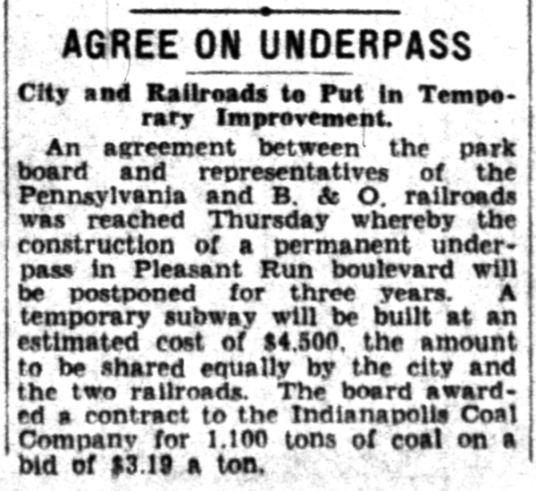 1932 Indianapolis News article indicated that city streets would be built beneath the underpass (courtesy of newspapers.com)