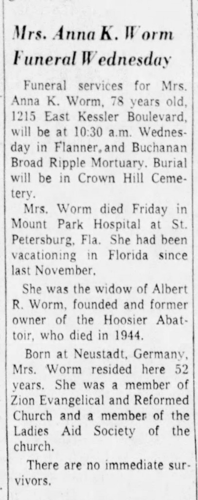 Niece of Albert Worm's second wife inherited the property upon her death (courtesy of newspapers.com)