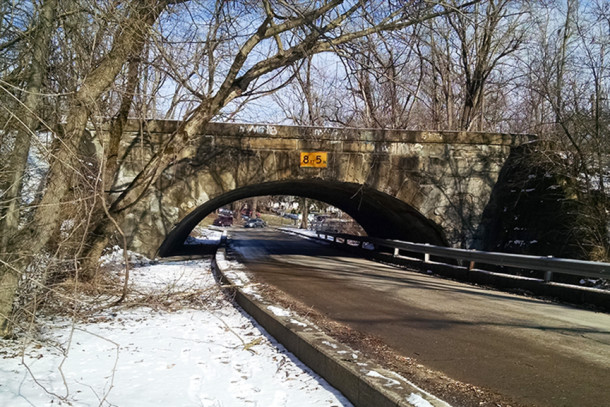 View of the Pleasant Run Parkway Bridge and Underpass taken from the southwest side (2016 photo by Sharon Butsch Freeland)