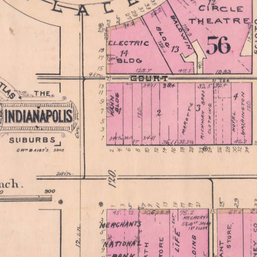 A 1929 Baist Atlas map showing the first block of East Washington. Much of this block remains the same today with the exception of the buildings at 6 and 8 (Courtesy IUPUI)