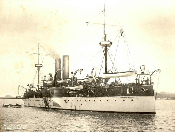USS Maine as it appeared prior to the explosion (courtesy of Providence Albertype Company, Providence, Rholde Island)