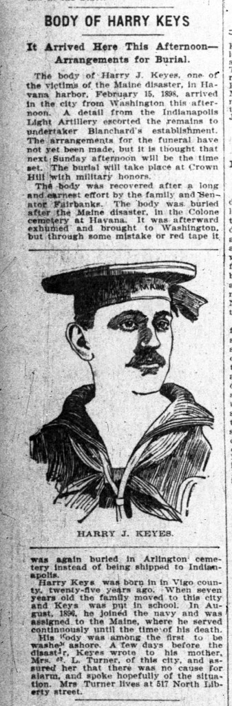 April 10, 1900 announcement of Harry J. Keys' burial in The Indianapolis News