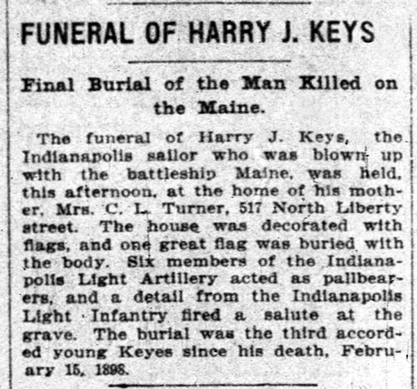 April 12, 1900 news item in The Indianapolis News