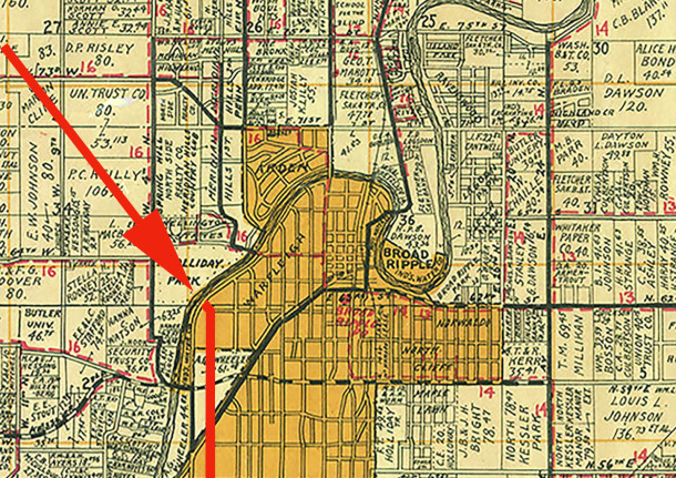 1931 Wagner map shows Meridian Street contuing straight north into the Warfleigh neighborhood at Kessler Boulevard (map courtesy of the Indiana State Library) CLICK TO ENLARGE