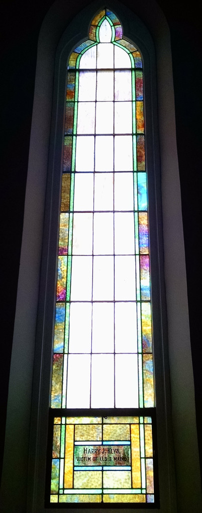 Stained glass window in the former Fletcher Place Methodist Episcopal Church (2016 photo by Sharon Butsch Freeland)