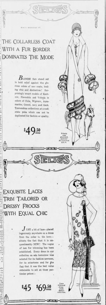 This 1925 Ad ran the last Sunday in February advertising the latest flapper fashions (Courtesy Indiana State Library)