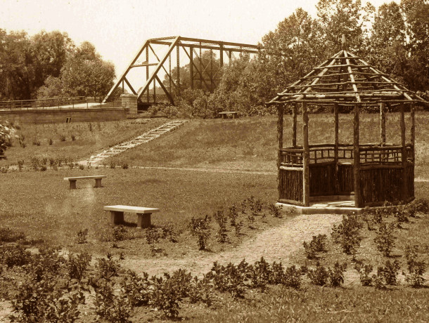 Before there was a bridge over White River on N. Meridian Street, the bridge was located at the large intersection of 64th, Riverview Drive, and Washington Boulevard