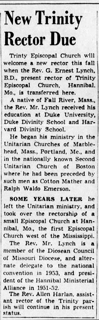 June 6,1953, Indianapolis Star article announced the appointment of a new rector
