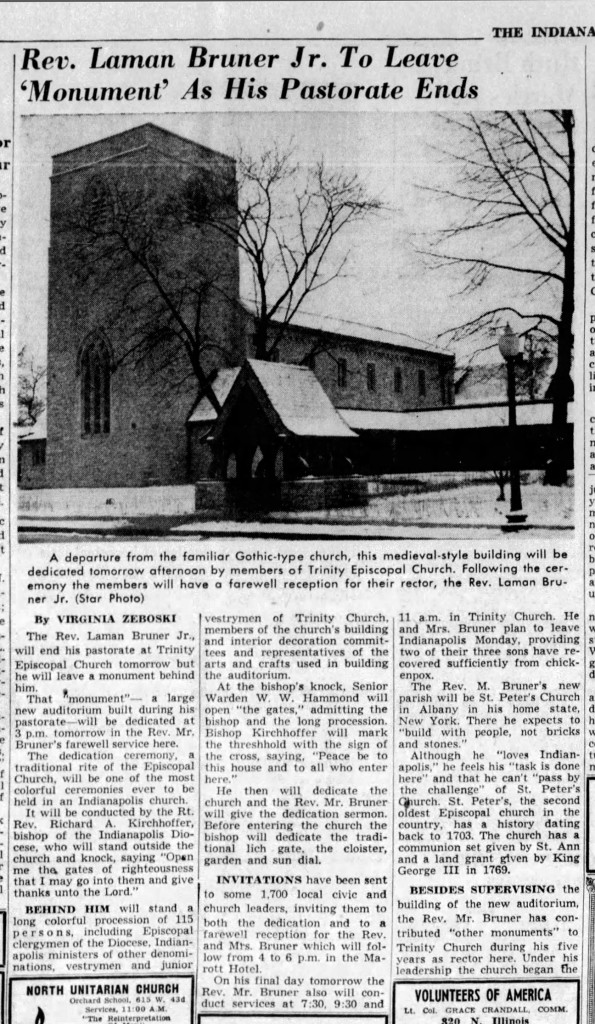 1953 Indianapolis Star article announcing the dedication of the new building