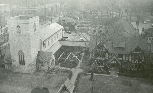 Aerial view of Trinity Episcopal Church in the 1960s (photo courtesy of Trinity Episcopal Church)