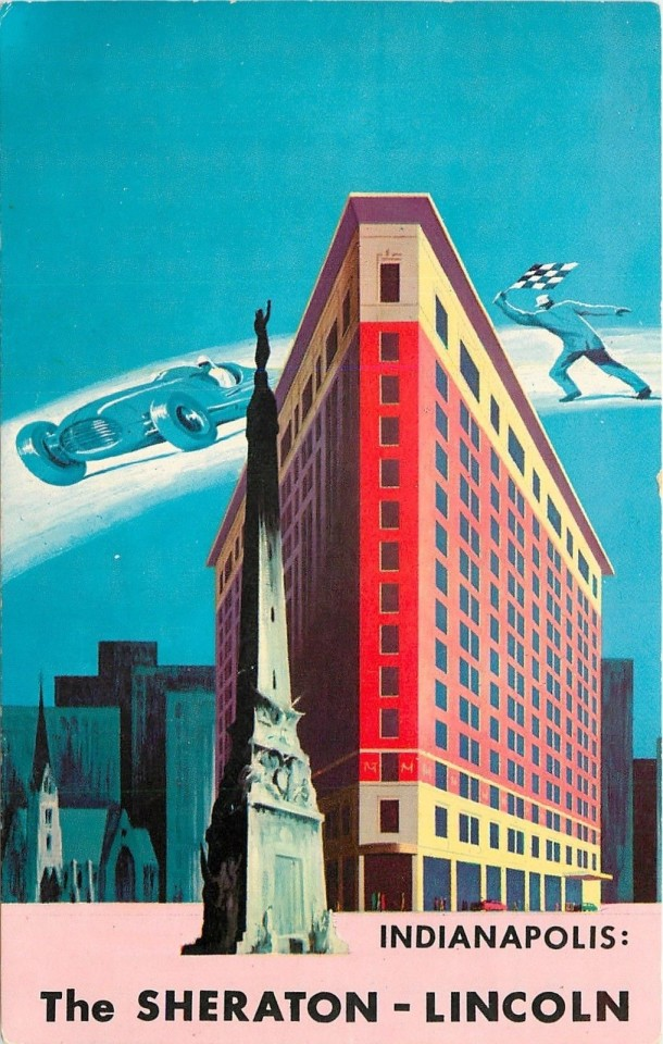 A 1950's postcard showing the Sheraton Lincoln (Courtesy eBay)