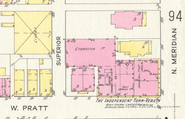 1915 Sanborn map, showing recently completed Turnverein, courtesy IUPUI Digital Archives