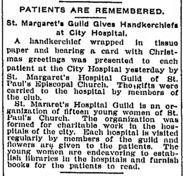 1908 newspaper article reports on an early St. Margaret's Hospital Guild activity (courtesy of The Indianapolis Star)