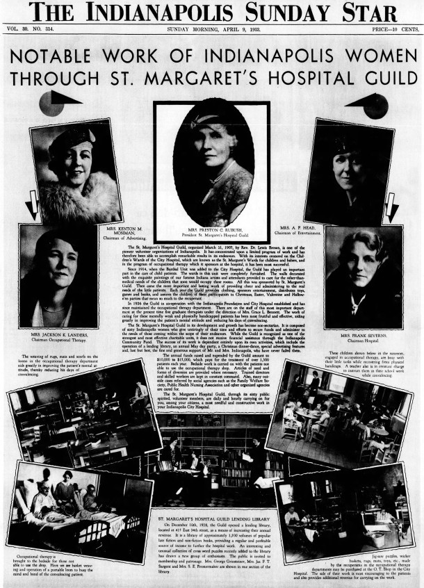 April 9, 1933 Indianapolis Star article about St. Margaret's Hospital Guild