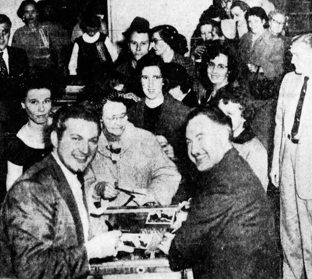 Liberace and his brother George after a concert to benefit St. Margaret's Hospital Guild (November 15, 1955 Indianapolis Star)