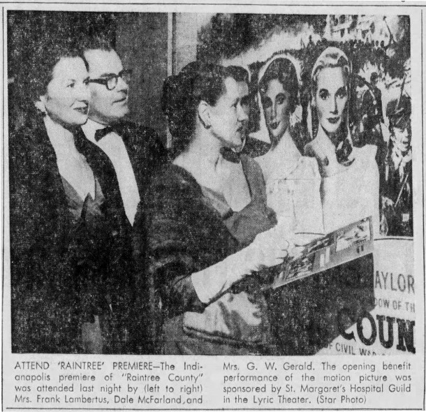 February 13, 1958 Indianapolis Star clipping reported a movie screening to raise funds for St. Margaret's Hospital Guild