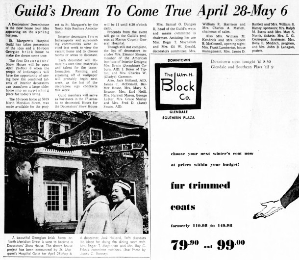 March 1, 1962 Indianapolis Star article about the first Decorators Show House