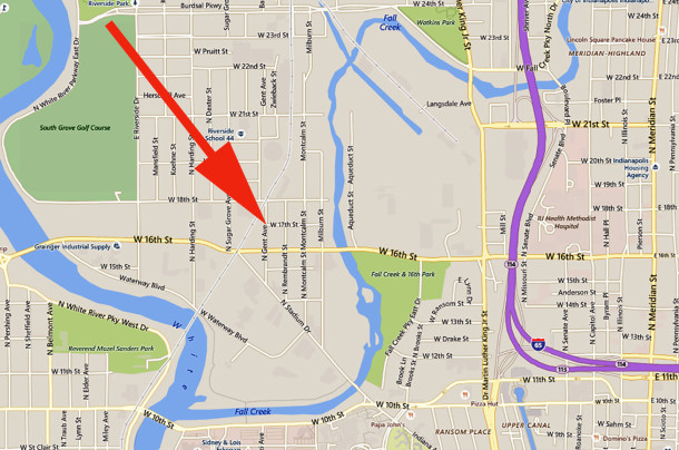 1701 Gent Avenue is a block north of West 16th Street, between Fall Creek and White River (map courtesy of Google)