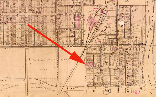 The 1929 Baist Atlas map shows structures on five of the six properties in the 1700 block of Gent Avenue (courtesy of IUPUI Digital Atchives)