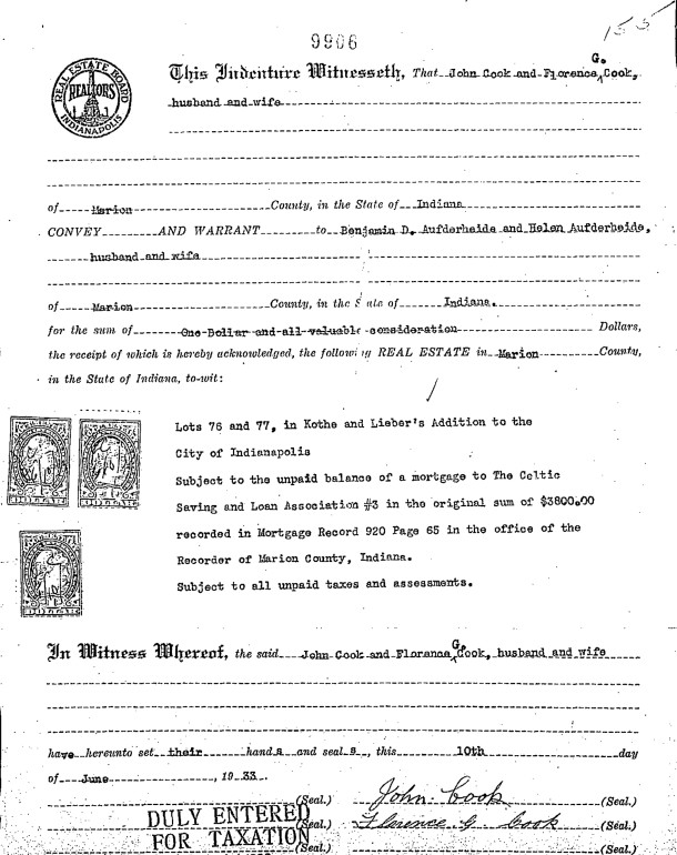 June 6, 1933 deed from John and Florence Cook to Benjamin and Helen Aufderheide (image courtesy of First American Title Insurance Co.)