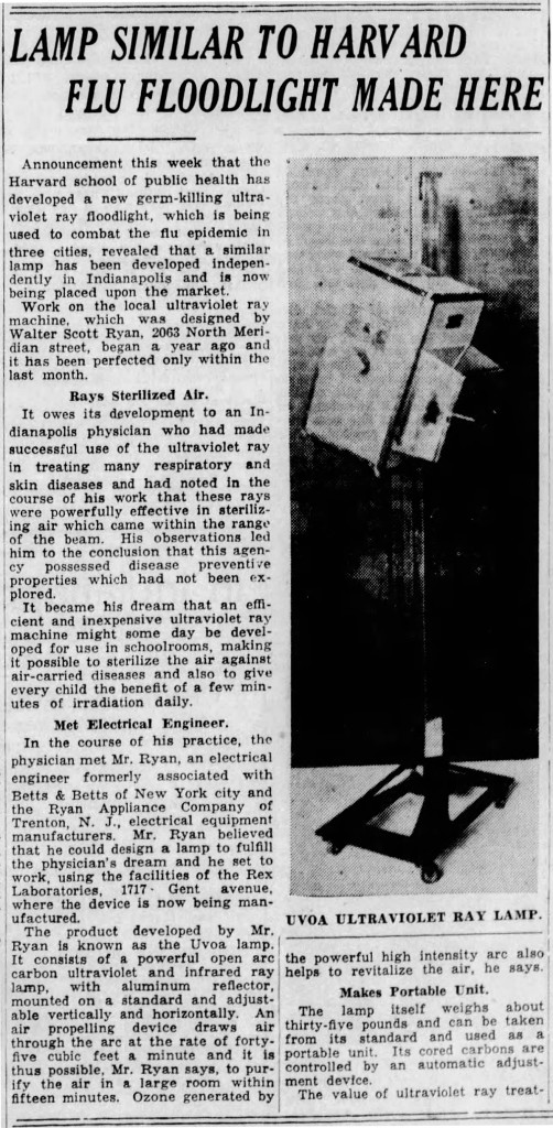 January 16, 1937 Indianapolis Star article about a device manufactured by Rex Laboratories