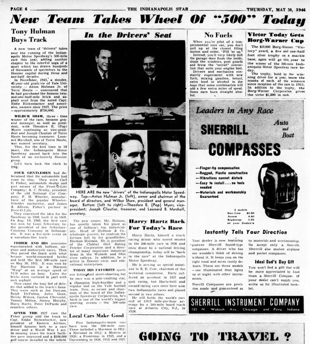 May 30, 1946 Indianapolis Star article reported the new team operating the Indianapolis Motor Speedway CLICK TO ENLARGE