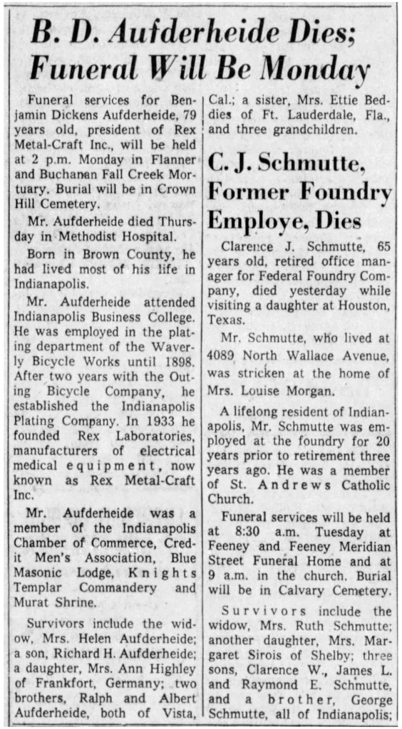 December 14, 1957, Indianapolis News obituary for Benjamin Aufderheide