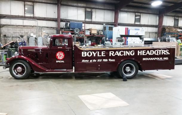 "Recently restored 1934 Diamond T 211FF ""race car hauler"" custom built for Mike Boyle by Gudelhoffer Wagon Works (2016 photo by John Pappas)"