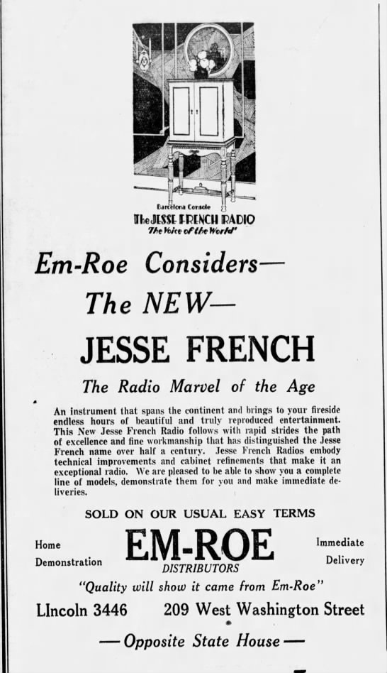 This ad from 1929 promises the new modern marvel of radio! The Jesse French Piano Company advertised this ornate cabinetry as a fine instrument. (Courtesy Indiana State Library)