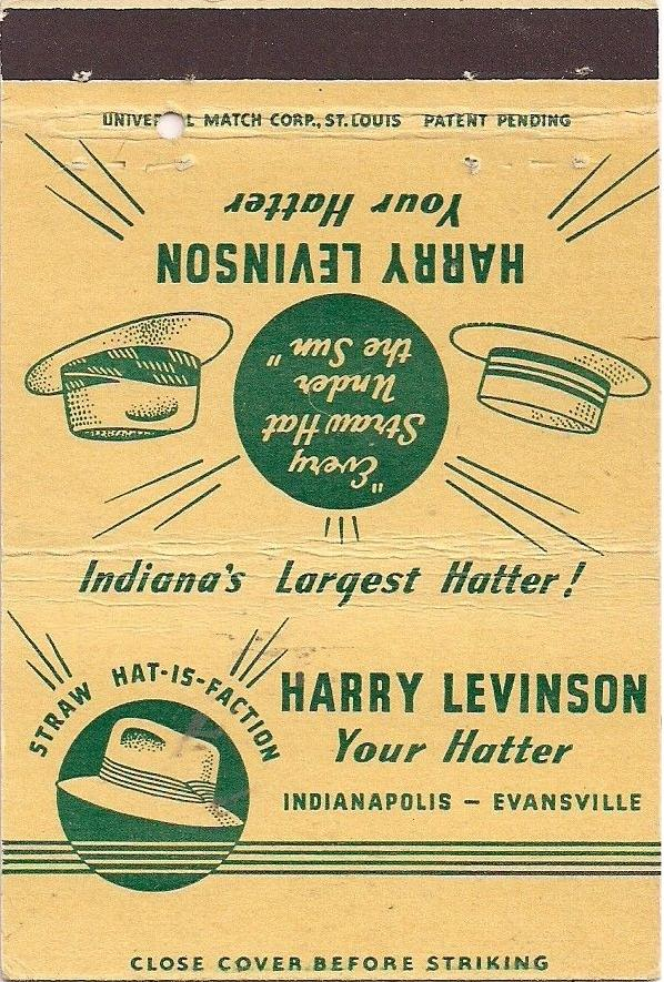 This matchbook from the 1950s shows the company prided itself on their quality men's hats.(Courtesy eBay)