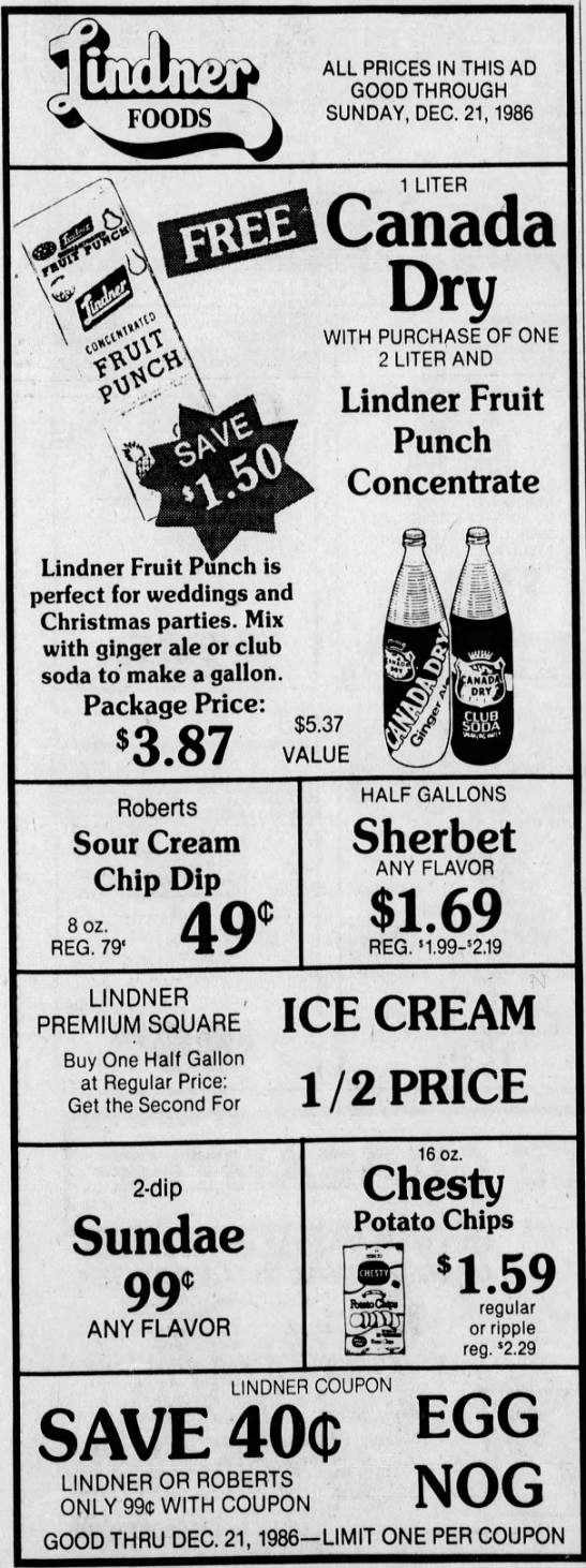 This ad from 1986 show's the final days of the Robert's Dairy empire. In 1982 the dairy purchased the chain of Lindner's stores from the namesake family. Robert's declared bankruptcy in 1987 and sold it's milk production operations to the Maplehurst Company. They held on to the stores until being auctioned off in 1988. The Robert's Dairy building remains on Millersville Road near 42nd Street. (Courtesy Indiana State Library)