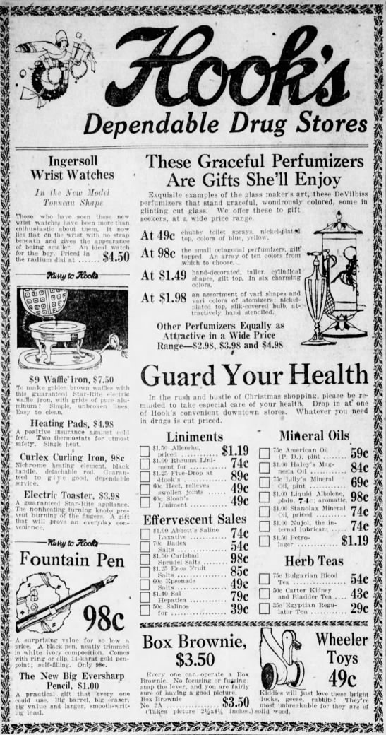 This ad from December of 1925 shows the pharmacy had become more than a mere pill pusher offering the latest electrical gadgets.
