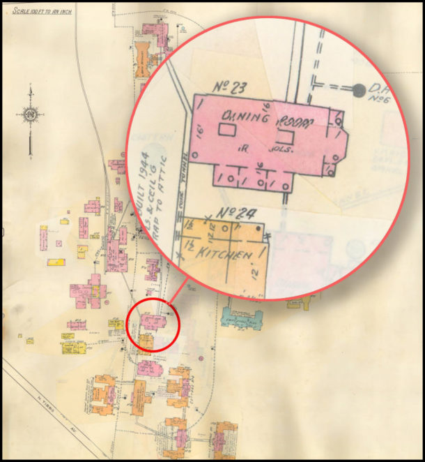 The 1899 Building as shown in the 1936 Sanborn Fire Insurance Map