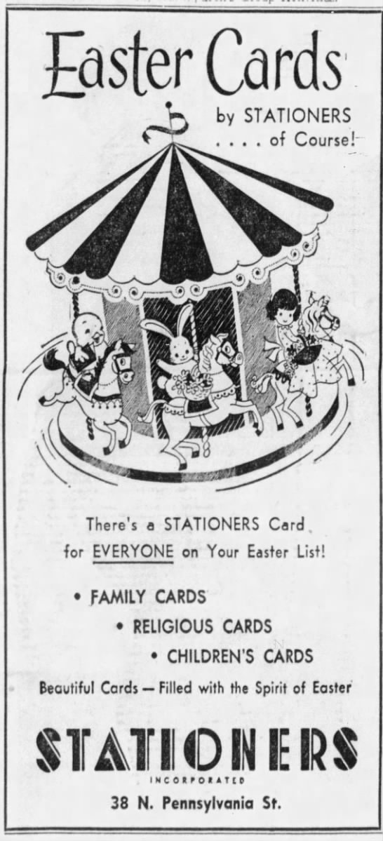 Stationers Offered Up Greeting Cards And Office Supplies In The Ober  Building Along Pennsylvania Street Through