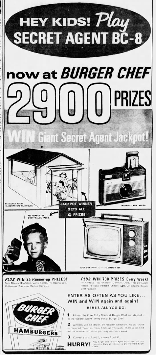 Look at all the swell prizes a kid could win for being a Burger Chef secret agent back in 1966! (Courtesy Indiana State Library)